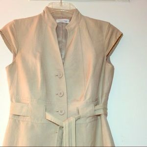 Calvin Klein Linen khaki dress NEW